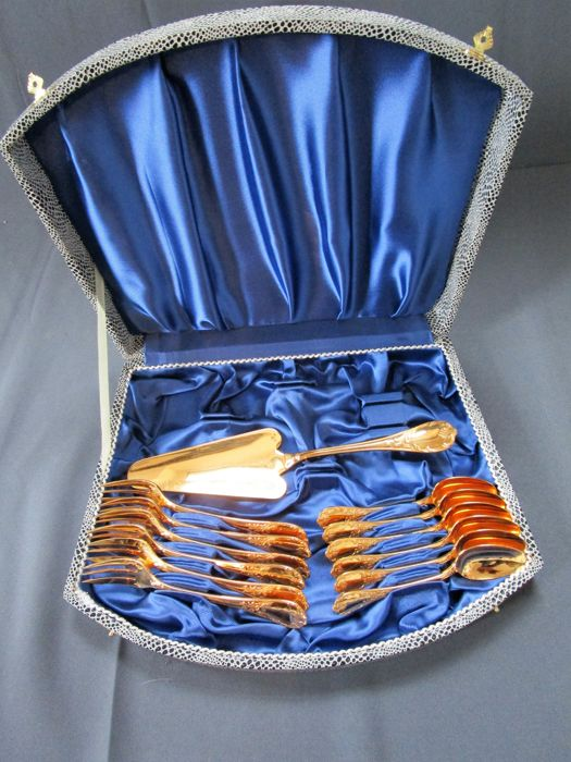 Christofle, cutlery, 'Marly Doré' gold-plated -  13 pieces