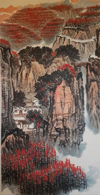 A Hand-painted scroll painting《钱松嵒-山水》- China - late 20th century