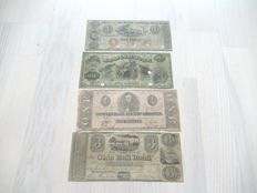 USA - Obsolete and Confederate Currency - 4 Banknotes from 1800s
