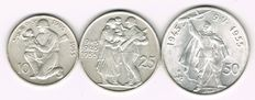 Czechoslovakia - 25, 50 and 100 Korun 1945-1955 - silver