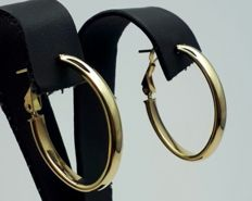 14 Ct Yellow Gold Hoop Earrings, Diameter 2.8cm, Total Weight  2.57g