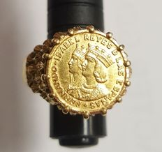 Ring in 18 kt gold, Catholic Monarchs. Spain