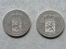 The Netherlands - 2½ guilder, 1854 and 1858 - Willem III - silver