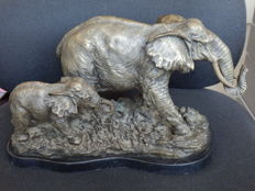 Very beautiful bronze sculpture of an elephant with calf
