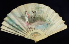 A two faced hand fan depicting bucolic scene and floral motifs - Cut bone with mother of pearl, Spainm late 19th century