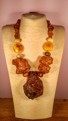 Vintage design  100% Natural Baltic Amber necklace, 203 grams, ca. 1960's