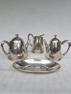 Heavy silver plated 3-piece GERO 90 crockery with decorative scale