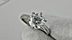 2.03 ct  round diamond ring made of 14 kt white gold *** NO RESERVE PRICE ***