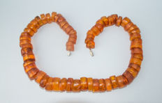 Vintage Baltic Amber necklace 100% butterscotch, honey colour, 72 grams