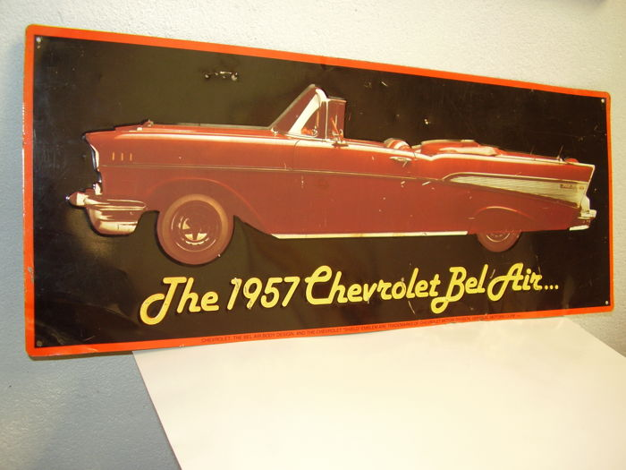 Painted metal advertising plate - Chevrolet Bel Air