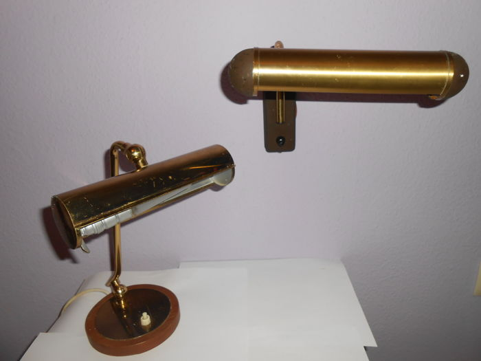 Pfaffle Leuchte Old Brass Desk Lamp And Brass Piano Wall