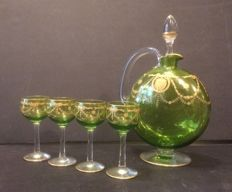 Liquor service, carafe + 4 glasses from St. Louis Congress model