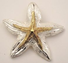 Starfish-shaped pendant - in 925 silver and 18 kt gold - 100% handmade in Italy - new- brand: Etnika - Cord not included