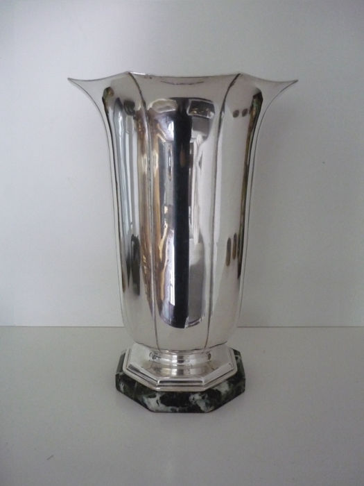 Large, silver plated metal vase, circa 1940