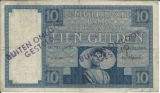 "Netherlands - 10 guilders 1924 ""Zeeland Girl"" stamp outside circulation - PL35.a3"