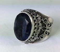 Silver ring with gemstone - size 61 - 1950-1960 period