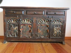 Wooden cabinet with decorated doors, 20th century