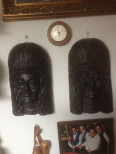 2 wooden masks