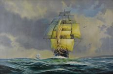 Brian Withams (1932-) - A ship under full sail
