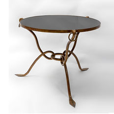 René Drouet - Vintage Coffee Table in Gilded Forged Iron