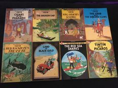 Tintin - 8x English books Methuen - 8x sc - 1st edition (1972-1977)