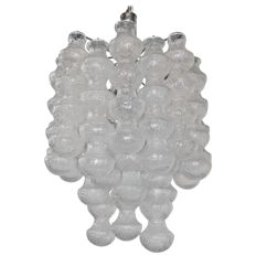 Large Layered Mid-Century Seguso Bubble Glass Chandelier