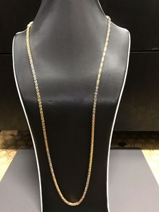 TRICOLOUR king's braid chain 18 kt / 750 white gold & rose gold & yellow gold 90 cm approx. 88.8 g