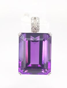 Giant Amethyst (32.70 carats) and Diamond (0.11 carats) Pendant in 18 kt White Gold- FREE SHIPPING