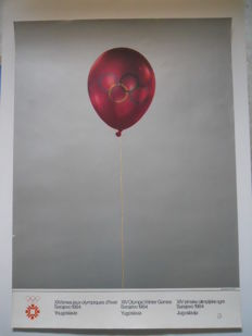 Poster of the 1984 XIV Winter Olympic Games in Sarajevo, Yugoslavia, by Michelangelo Pistoletto