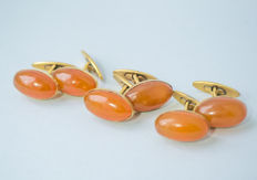 Three pair of natural Baltic Amber vintage cuff links, natural cognac/honey colour Amber