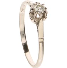 14 kt White gold ring set with 1 diamond of approx. 0.10 ct - Ring size: 17.25 mm