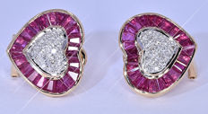 3.62 Ct Ruby and Diamonds, heart earrings NO reserve price!