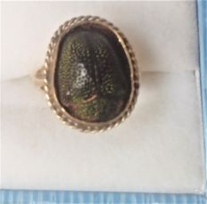Antique Egyption Real  Scarab Beetle Set  9 Ct Gold Ring