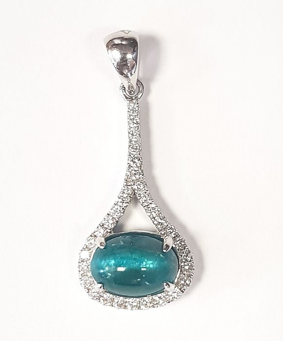 Rare Catseye Emerald (3.07 carats) and White Diamonds (0.31 carats) Pendant in 18 kt White Gold- FREE SHIPPING