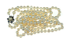 Cultured freshwater pearl necklace on an 18 karat white gold clasp with diamonds and sapphire