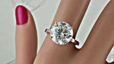 5.03  ct  round diamond ring made of 18 kt white gold - size 7