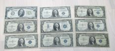USA - 10 Dollar 1934 and 8 x 1 Dollar 1934 and 1935 - including replacement notes