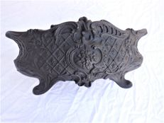 Old heavy wrought-iron bowl/flower bowl with manufacturer and elaborate decoration