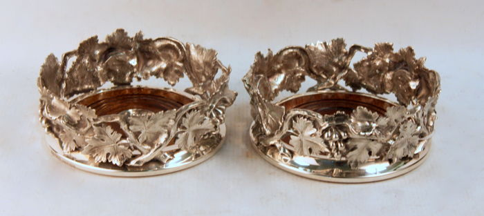 Antique Victorian Silver Plate Leaf Decorated Pair of Wine Coasters, By Pryor Tyzack & Co (possibly) - Sheffield C.1880