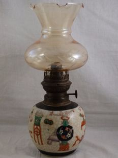 Oil lamp on Chenghua Nian Zhi crackleware vase - China - mid 20th century