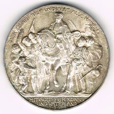 German Empire, Prussia - 3 Mark 1913 A 100 Years Defeat of Napoleon - silver