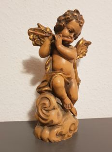 Wooden angel putto figure - Germany 26 cm