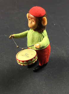 Schuco, Germany - height 12 cm - Monkey with drum 985/1, 1930s