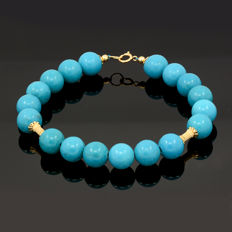 Bracelet with turquoise - 18kt/750 yellow gold - Total length 21 cm. = 19 cm. useful length (inside circumference size).