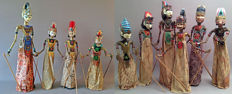 Collection of 10 antique Wajang-Golèk dolls - West-Java - mid-20th century.