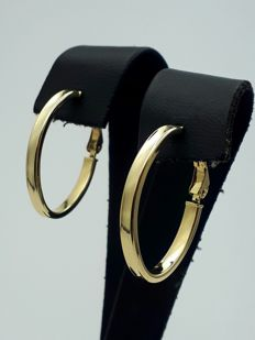 14 Ct Yellow Gold Hoop Earrings, Diameter 2.6cm, Total Weight 2g