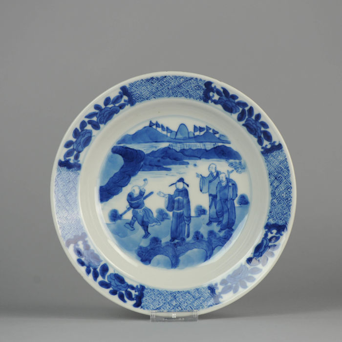 Porcelain Plate , scholars  in Landscape,  Chenghua Marked - China - Kangxi period, 18th c