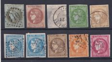 France 1870 – Bordeaux series selection – Yvert 39B, 40B, 41B, 42B, 43A, 45C, 46B, 47, 48 and 49
