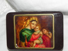 Antique miniature painting, magnifying glass painting, Bakelite box, ca. 1920