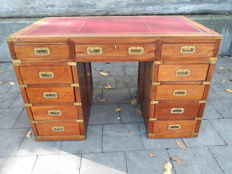 Campaign desk with red leather inlay and 11 drawers - English - 19th century